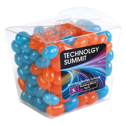 190 grams of Corporate Colour Mini Jelly Beans packed in clear mini Noodle Box. Your choice of jellybeans, choose from 9 great colours and flavours - Orange (Orange), Pink (Raspberry), White (Lychee), Red (Strawberry), Green (Apple), Yellow (Lemon), Black (Aniseed), Purple (Grape), Blue (Blueberry).