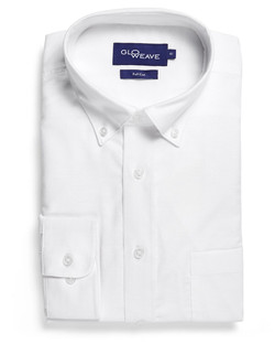 Mens 1015L LS Oxford Weave White Shirt