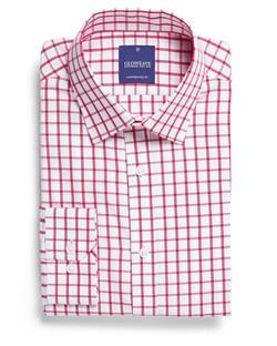 Mens 1712L LS Window Pane Check Shirt Red