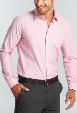 Mens 1708L LS Micro Brick Textured Plain Shirt Pink A