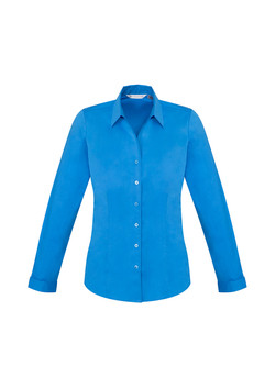 Biz S770LL Ladies LS Monaco Shirt Cyan