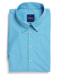 Ladies 1637WS SS Gingham Check Shirt Teal