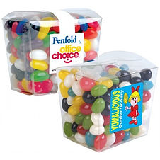 190 grams of Assorted Mini Jelly Beans packed in clear mini Noodle Box. Mix of 9 great colours and flavours - Orange (Orange), Pink (Raspberry), White (Lychee), Red (Strawberry), Green (Apple), Yellow (Lemon), Black (Aniseed), Purple (Grape), Blue (Blueberry).