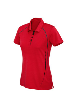 Biz P604LS Ladies Cyber Polo Red-Silver