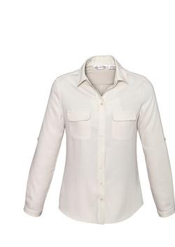 S626LL Ladies Madison Long Sleeve Blouse Ivory