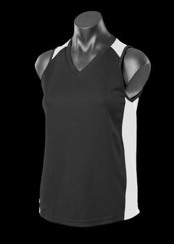 2101 Ladies Premier Singlet Black-White