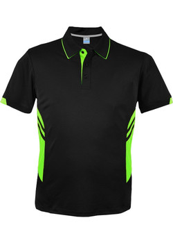 AP 1311 Mens Tasman Polo Black-Neon Green
