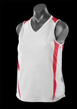 2104 Ladies Eureka Singlet White-Red