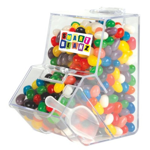 630 grams of Assorted Mini Jelly Beans packed in Dispenser with scoop. Mix of 9 great colours and flavours - Orange (Orange), Pink (Raspberry), White (Lychee), Red (Strawberry), Green (Apple), Yellow (Lemon), Black (Aniseed), Purple (Grape), Blue (Blueberry).