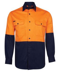 6HWSL Hi Vis LS 150G Shirt Orange-Navy