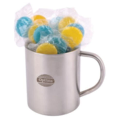 16 Corporate Colour Lollipops shrink wrapped in Double Wall Stainless Steel Barrel Mug. Your choice of lollipops, choose from 6 great colours and flavours - Red (Strawberry), Yellow (Lemon), Blue (Tutti Frutti), Green (Lemon), Orange (Orange), Purple (Grape).