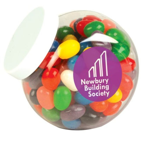 160 grams of Assorted Mini Jelly Beans packed in clear Container with white twist top Lid and tamper evident security seal. Mix of 9 great colours and flavours - Orange (Orange), Pink (Raspberry), White (Lychee), Red (Strawberry), Green (Apple), Yellow (Lemon), Black (Aniseed), Purple (Grape), Blue (Blueberry).