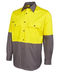 6HWSL Hi Vis LS 150G Shirt Yellow-Charcoal