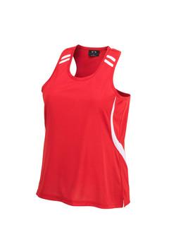 Biz LV3125 Ladies Flash Singlet Red-White