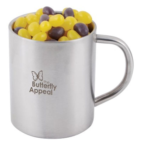 280 grams of Corporate Colour Mini Jelly Beans shrink wrapped in Stainless Steel Double Wall Barrel Mug. Your choice of jellybeans, choose from 9 great colours and flavours - Orange (Orange), Pink (Raspberry), White (Lychee), Red (Strawberry), Green (Apple), Yellow (Lemon), Black (Aniseed), Purple (Grape), Blue (Blueberry).