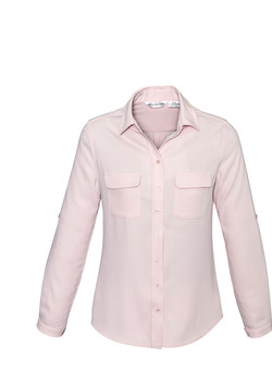 S626LL Ladies Madison Long Sleeve Blouse Blush Pink