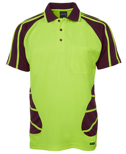 6HSP Hi Vis SS Spider Polo - Lime-Maroon
