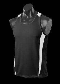 1104 Mens Eureka Singlet Black-White