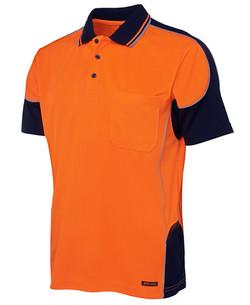 6HCP4 Hi Vis Contrast Piping Polo Orange-Navy