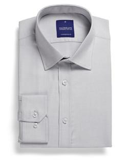 Mens 1709L LS Micro Step Textured Plain Shirt Grey