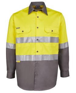 6DNWL Hi Vis LS (D+N) 150G Work Shirt Yellow-Charcoal