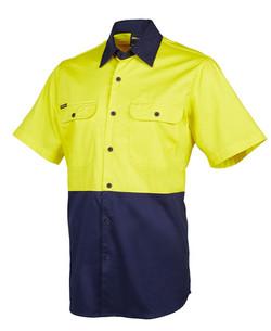 6HWSS Hi Vis SS 150G Shirt Yellow_Navy