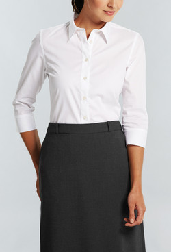 Ladies 1069WL LS Yarn Dyed Herringbone Shirt White A