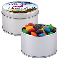 50 gram cello bag of assorted colour milk chocolate M&M's (Green, Red, Orange, Yellow, Brown and Blue) packed in 2 piece silver Round Tin.