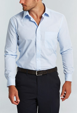 Mens 1295L LS Textured Yarn Shirt Blue A