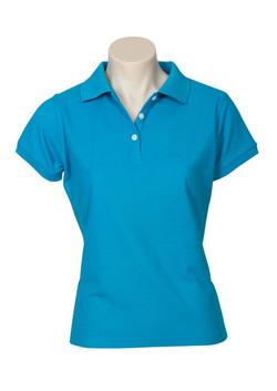 p2125 Ladies Neon Polo Cyan Blue