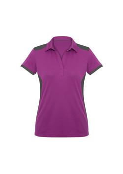 Biz P705LS Ladies Rival Polo Shirt Cerise_Grey