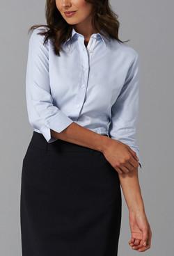 Ladies 1709WL Micro Step Textured Plain Shirt Sky A
