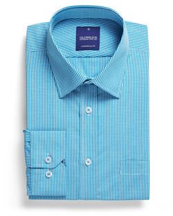 Mens 1637L LS Gingham Check Shirt Teal