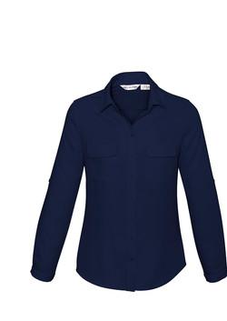 S626LL Ladies Madison Long Sleeve Blouse Midnight Blue