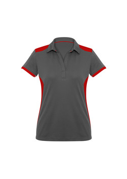 Biz P705LS Ladies Rival Polo Shirt Grey_Red