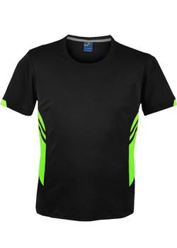 AP 1211 Mens Tasman Tshirt Black-Fluro Green