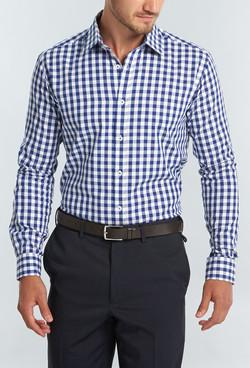 Mens 1710L LS Royal Oxford Gingham Shirt Navy A