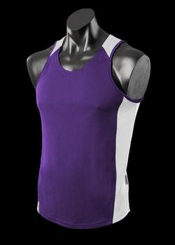1101 Mens Premier Singlet Purple-Whte