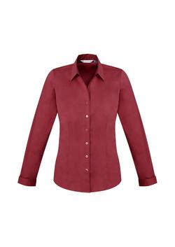 Biz S770LL Ladies LS Monaco Shirt Cherry