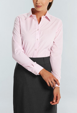 Ladies 1267WL LS Puppy Tooth Check Shirt Pink