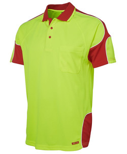 6AP4S Hi Vis SS Arm Panel Polo Lime-Red