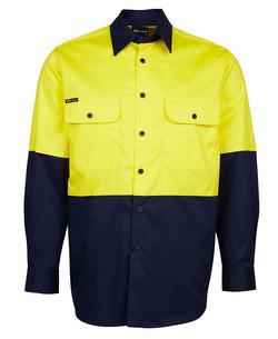 6HWSL Hi Vis LS 150G Shirt Yellow-Navy