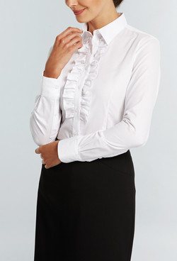 Ladies 1716WL LS Oxford Weave Shirt White A