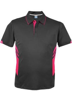 AP 1311 Mens Tasman Polo Slate-Neon Pink