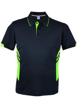 AP 1311 Mens Tasman Polo Navy-Neon Green