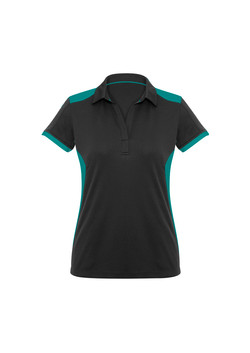 Biz P705LS Ladies Rival Polo Shirt Black_Teal