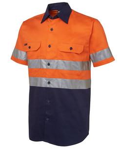 6HSS Hi Vis (D+N) SS 190G Shirt Orange-Navy