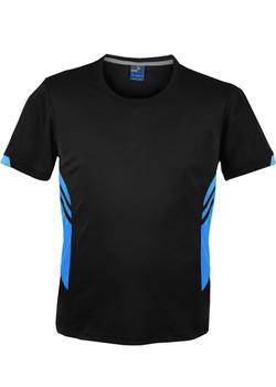 AP 1211 Mens Tasman Tshirt Black-Cyan