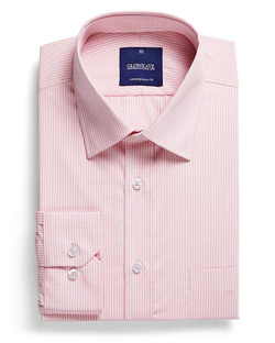 Mens 1637L LS Gingham Check Shirt Pink