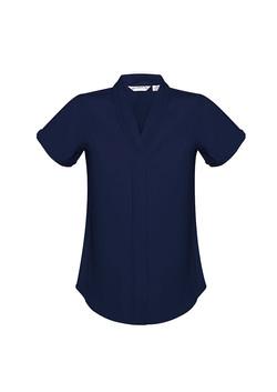 S628LS Ladies Madison Short Sleeve Blouse Midnight Blue